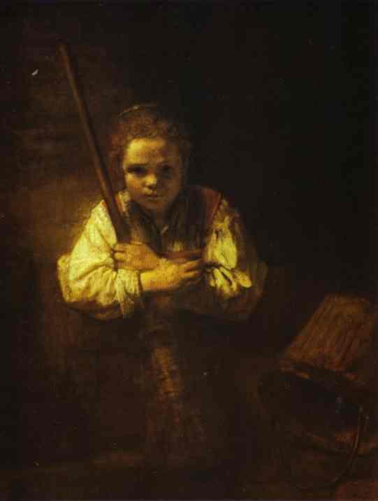 REMBRANDT Harmenszoon van Rijn A Girl with a Broom 1651