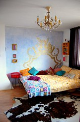 Nina's room (ATLITW) Tags: blue ikea yellow wall vintage mural handmade room retro chandelier blanket eclectic homedecor thrifted