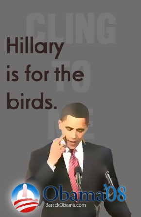 Obama Gives Hillary The Bird Poster