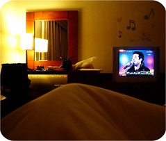 My Perfect Thursday Night... (Cherie) Tags: television coral hotel tv cozy bedroom warm dubai artist weekend room uae boutique singer p songs addict cherie pp alla yal rashed elmajid appartements wanasah noonah cheriee la6oof 3laich 3afana rashedalmajedshouldgetanobleprize sa5eefa ya5i