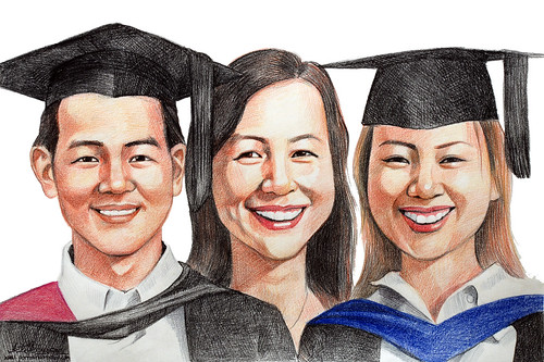 family graduation portraits in colourpencil