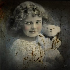 Reworked Vintage Image (collage a day) Tags: bear girl collage vintage teddy mixedmedia digitalart teddybear alteredart alteredimage vintageimage