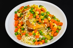 Spam with cheesy noodles (garydlum) Tags: cooncheese corn spam springonion peas noodles belconnen canberra cheese carrot