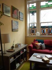 corner split (l . e . o) Tags: windows art home boston morninglight apartment stainedglass livingroom couch sofa rug coffeetable southend