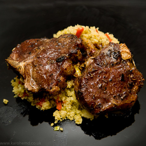 Lamb Chops on Red Pepper Couscous
