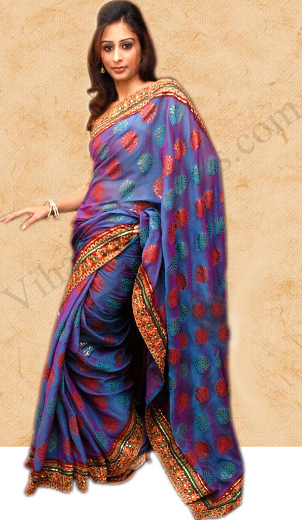 Oriental Blue Shiffon Saree
