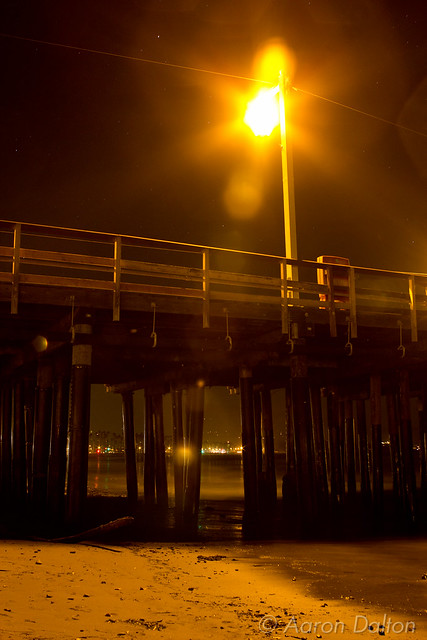 Looking Under Sterns Wharf with Street Lamp