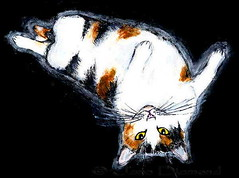 """Calico Queen"" painting by Jane Diamond (Jane (on break)) Tags: cats brown white black cute yellow cat feline kitty queen calico etsy calicocat efa cutekitty catart catpainting smilingcat janediamond etsyforanimals janediamonddesigns"