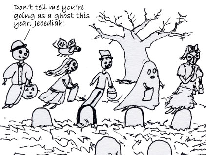Another ghost makes fun of Jebediah for dressing up as a ghost for Halloween.