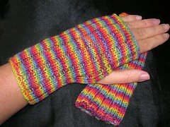 fingerless mittens rainbow