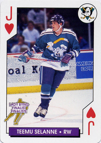 Teemu Selanne, Anaheim Mighty Ducks, NHL Aces Playing Cards, Bicycle, hockey card, hockey cards