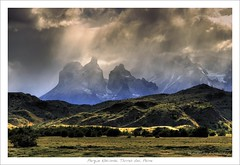 Torres del Paine vs Middle Earth (HaukeSteinberg.com) Tags: chile light patagonia mist mountains southamerica grass fog clouds landscape fantasy soe middleearth naturesfinest mittelerde toresdelpaine flickrsbest abigfave anawesomeshot fineimage proudshopper goldstaraward samericagallery