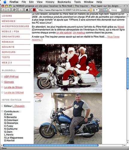 Copie d'écran représentant le père noel et moi dans la même position, sur une moto.