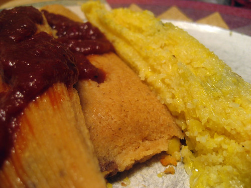 green corn and porkless (vegetarian) tamales