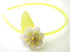 Yellow, White and Purple Vintage Flowers Headband