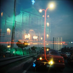 church & traffic double x (mypinktoenails) Tags: bulb mediumformat holga lomo lomography nightshot doubleexposure philippines driveby ishootfilm plastic manila medium pasay bmode 120n holga120n plasticlens filmisnotdead lomolove agfacolorportrait160