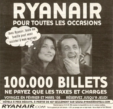 Sarkozy featured on Ryanair