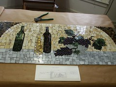 mosaic finished (lori.d (Lori Desormeaux)) Tags: art design wine mosaic vine winebottles winemaker backsplashglassgrapesgrape