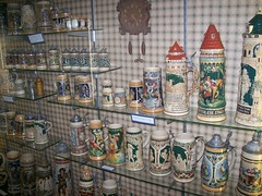 Wall of beer steins (robotech_master_2000) Tags: clock beer museum ceramic german stein deutch chrismeadows sandyclark jmdavis