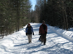 Hiking the snowmobile trail