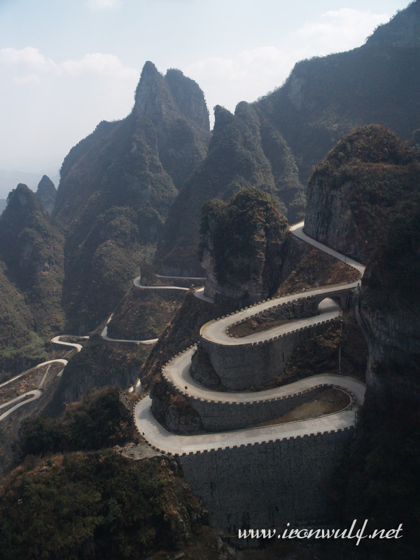 The long and winding road at Mt Tianmanshan