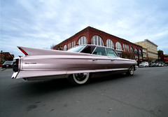 Pink Cadillac (professional recreationalist) Tags: pink car cadillac brucedean professionalrecreationalist fin victoriabc tailfin pinkcadillac phototakeninmotiononabike