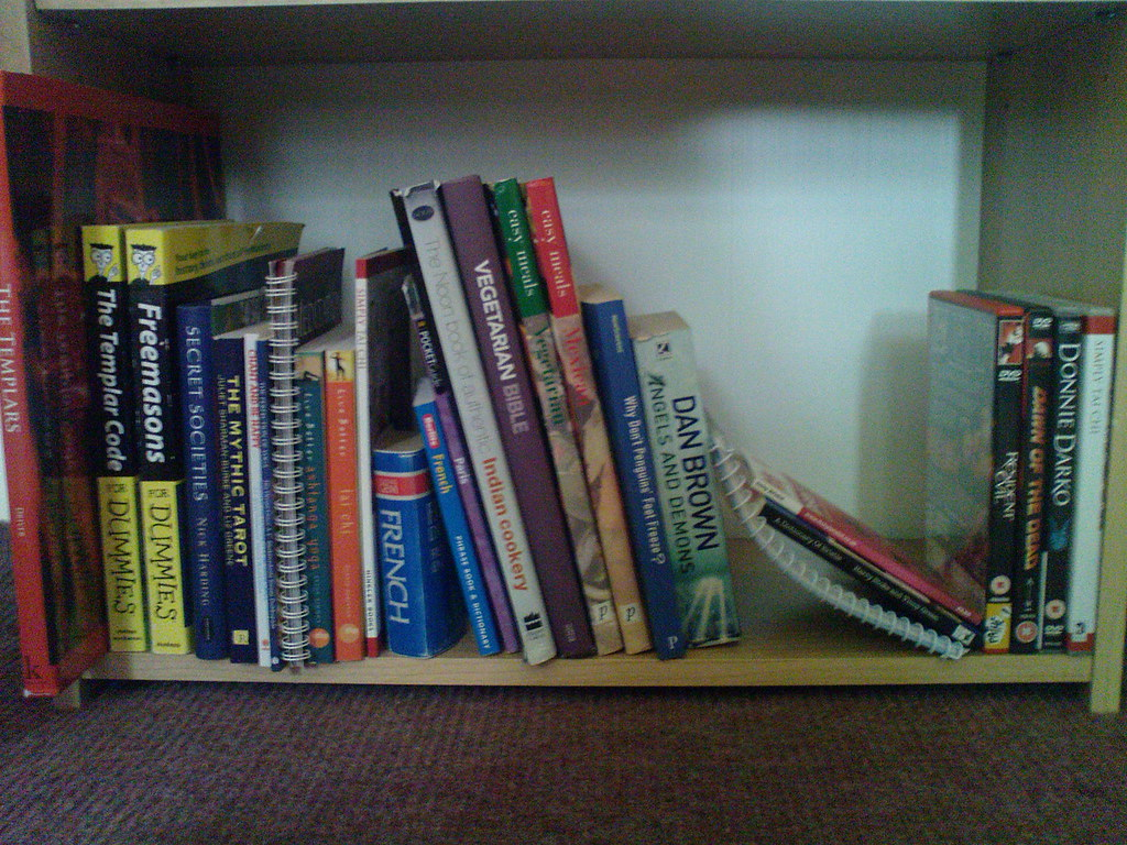 """Bottom Shelf: """"Secret Societies""""/Esoteric, Meditation/Relaxation, Recipes, Other and a few DVDs"""