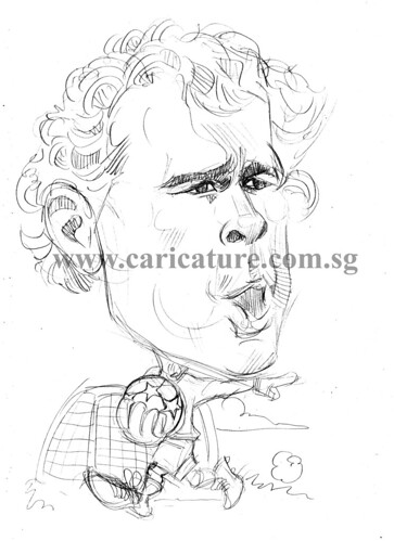 Caricature of Jens Lehman pencil sketch watermark