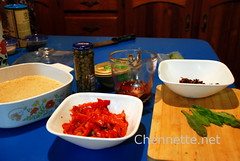 CousCous Salad - Mise en Place (Chennette) Tags: cranberries garlic dates capers craisins culantro roastedpeppers bandhania wholewheatcouscous shadowbeni lilandrasphoto
