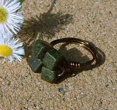 Dark Forest Cubic Ring - 8mm Russian Serpentine Jade SIZE 7 1/2 (JustinGeer) Tags: summer green stone forest dark square four jewelry ring jade cube copper hunter goldstone