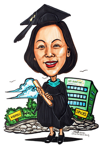 Graduation caricature for At-Sunrice