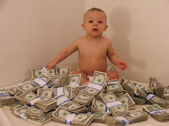 baby with cash