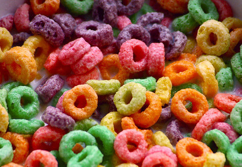 photo image of a bowl of froot loops cereal in milk