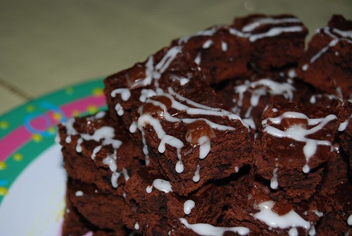 Brownies stacked: close up