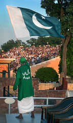 Taunting the other side (Michael Foley Photography) Tags: sunset border flags soldiers lowering wahgah indiapakistan babamehardin