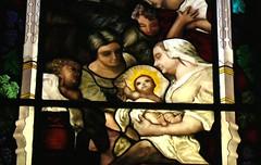 Nacimiento de La Virgen Maria close (sebaheguia) Tags: glass argentina painting studio stainedglass stained vidrieras vitrais vitraux glasspainting artereligioso vitrales enamels heguiabehere stainedglassstudio tallerdevitrales
