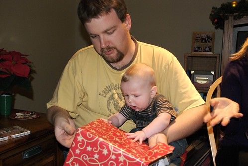 Opening first Christmas Present