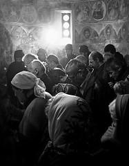 Prayer in Temska monastery (Tanjica Perovic) Tags: life people blackandwhite bw art classic church backlight feast photography hope intense icons fotograf photographer god faith prayer serbia religion saints monastery rays christianity spirituality balkans orthodox fresco atmospheric slava liturgy raysoflight srbija serbian believers orthodoxchristianity  slavic nisava churchinterior pirot slav staraplanina godslight kej srpski fotografija  balkanmountains peoplepraying  stgeorgeday temska pirotskikej pirotskicilim  kejnanisavi  pirotserbia tanjicaperovic pirotkej pirotski pirotsrbija  tanjicaperovicphotography fotografijepirota
