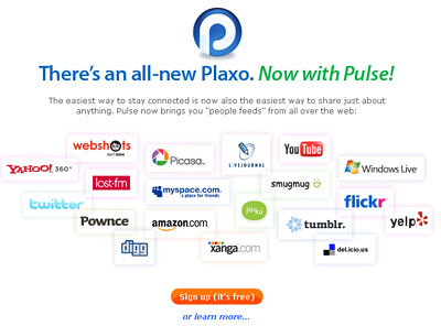 captura de la página de inicio de Plaxo