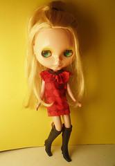 Red dot mod dress (rlkataja (Robin Blair)) Tags: red love girl its true mod 60s doll dress you olive mini polka retro fabric blythe dots twiggy marimekko ruffle ilyit rlkataja