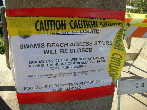 Swami's Beach is closed! from Flickr