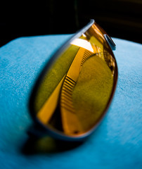 distorted in all the right places (Sporlink) Tags: blue stilllife orange glasses experiment naturallight canoneos1dmkiii woohooitsfriday canonef15mmf28fisheyelens