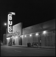 Oakland Greyhound station (efo) Tags: california bw night oakland neon nocturnal hasselblad busstation