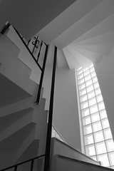 Go Tread Lightly Too (Andy Brown (mrbuk1)) Tags: lighting bw window glass lines stairs spiral daylight glow geometry rails blocks banister shadesofgrey beneath topsyturvy anawesomeshot