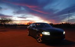 Sunset in Phoenix (Mircea san ミルチア さん) Tags: phoenix arizona usa pentaxk200d sunset car dodge charger 2016 v8