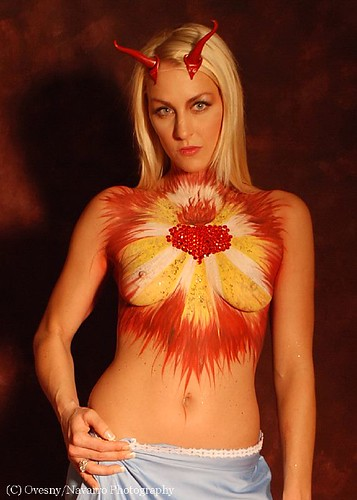 Model Posing With Red Flower Art Body Painting