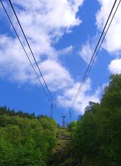 Ulriksbanen Cables, Bergen, Norway (lenoz) Tags: trees sky sun mountain travelling grass norway clouds lift altitude hills cables valley cablecar bergen scandinavia interrail ulriken 2007 sevenmountains studenttravel ulriksbanen desyvfjell