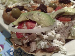 From front: mini tostadas, chalupas, and sopes