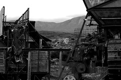 Black&White (Z is for Zo) Tags: new white black mountains abandoned metal island mine background south hills machinery zealand machines coal cogs