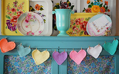 Sweet Hearts Garland (Bella Dia) Tags: pink blue red hearts heart handmade crochet garland valentine valentines sweetheart crocheted tutorial